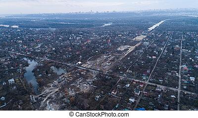 新しい, 航空写真, 橋, ウクライナ, 光景, 建設, kiev