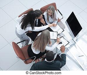 新しい, 論じる, 計画, ビジネス チーム
