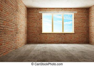 新しい, 部屋, 空, 3d