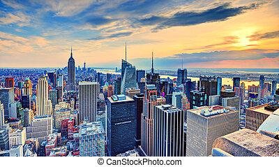 新しい, 都市, ヨーク, 夕闇