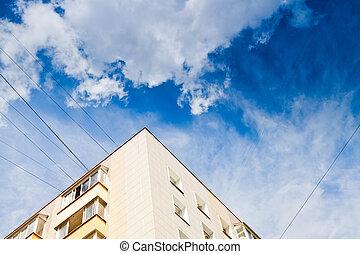 新しい, 都市, 家, 下に, 暗い 青, 空