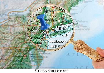 新しい, 鋲, ヨーク, 地図