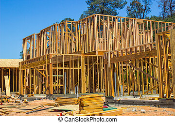 新しい, 2物語, 家, 建設 中