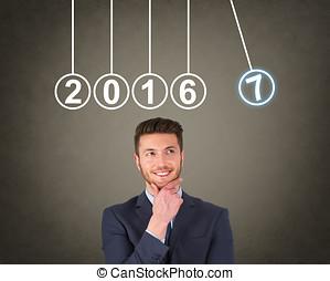 新しい, 2017, 年, エネルギー, 概念