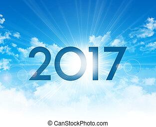 新しい, 2017, 日, カード, 挨拶