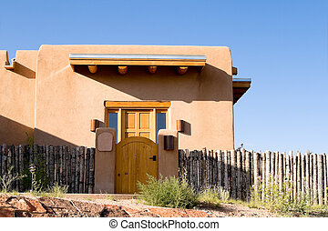 新しい, adobe, 一つのファミリー, フェンス, 家, サンタフェ, メキシコ\