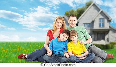新しい, house., 家族, 幸せ