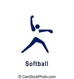 新しい, icon., スポーツ, pictogram, ソフトボール