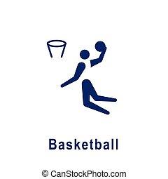 新しい, icon., スポーツ, pictogram, バスケットボール