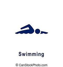 新しい, icon., スポーツ, pictogram, 水泳