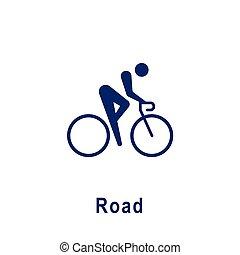 新しい, icon., スポーツ, pictogram, 道