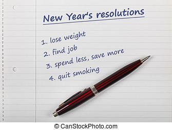 新しい, resolutions, リスト, 年の