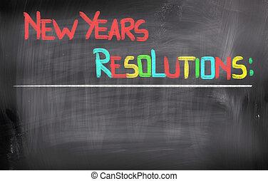 新しい, resolutions, 概念, 年