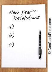 新しい, resolutions, 空, 年