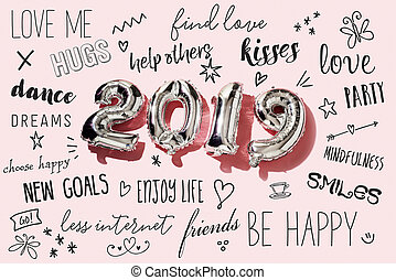 新しい, resolutions, 2019, 数, 年
