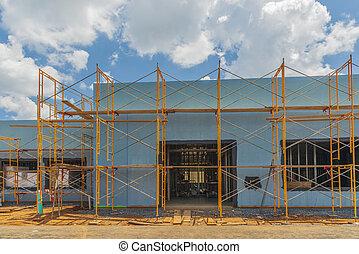 新しい, surrounds, 商業のコンストラクション, 足場, 建物
