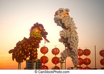 新しい, year., ライオン, 中国語, ダンス