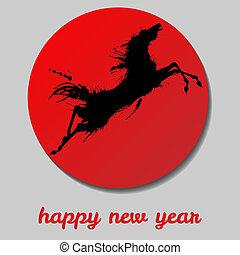 新しい, year., 跳躍, horse., 幸せ