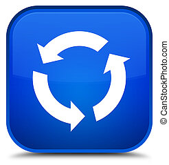 新たにしなさい, アイコン, 特別, 青い正方形, ボタン