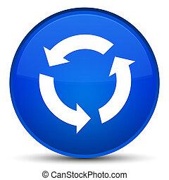 新たにしなさい, アイコン, 特別, 青, ラウンド, ボタン