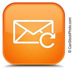 新たにしなさい, 電子メール, アイコン, 特別, オレンジ正方形, ボタン