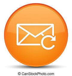 新たにしなさい, 電子メール, アイコン, 特別, オレンジ, ラウンド, ボタン