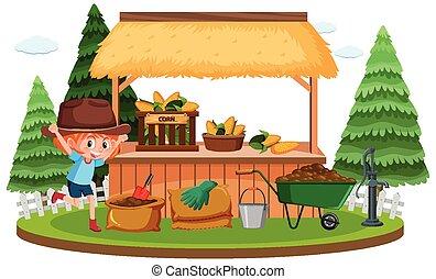 新たに農場で働きなさい, 庭, 女の子, 現場, かわいい, トウモロコシ