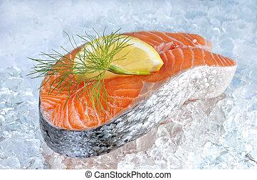 新たに, ステーキ, 鮭