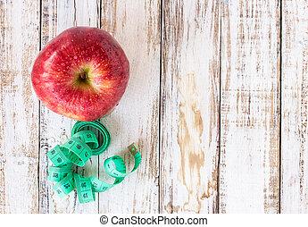 新たに, テープ, 木製である, 測定, テーブル, りんご