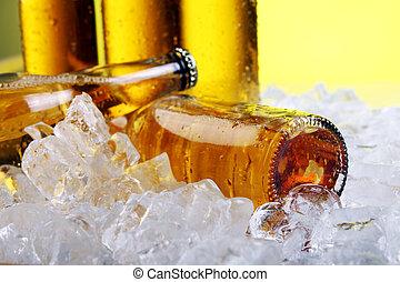 新たに, ビール瓶, 寒い, 氷