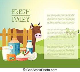 新たに, 乳製品, 旗, ポスター, ベクトル, illustration., 有機体である, 品質, 食品。, 偉人,...