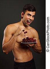 新たに, 人, 食べる, 赤いサクランボ