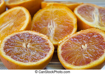 新たに, 切口, オレンジ, 半分