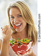 新たに, 女性の 食べること, 若い, サラダ