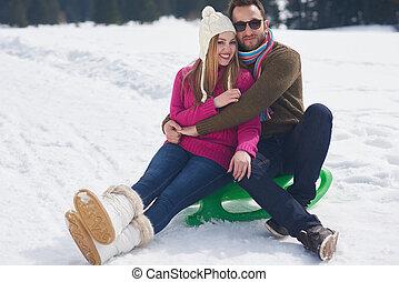 新たに, 恋人, 冬, 幸せ, 楽しみ, 持つこと, 休暇, ショー, 若い