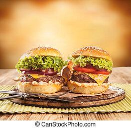 新たに, 木, ハンバーガー, サービスされた
