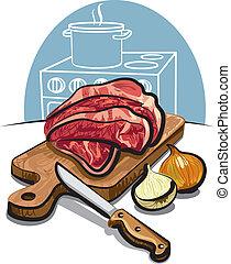 新たに, 生の肉