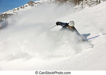 新たに, 美しい, 雪, 季節, 日当たりが良い, スキー, 冬, 日