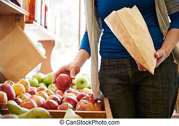 新たに, 袋, 購入, 女, 顧客, りんご, 店, ペーパー, 有機体である, 終わり, 農場