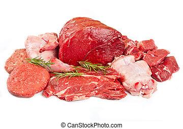 新たに, 装飾される, 各種組み合わせ, 肉, 切口, 肉屋