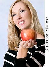 新たに, 赤いリンゴ, 女性, 保有物
