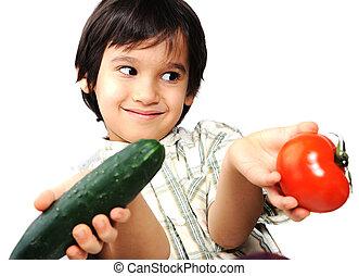 新たに, 野菜, 子供