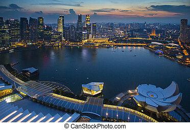 新加坡, 地平线, 带, topview, 黄昏