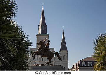 新奧爾良, -, andrew jackson, 雕像, 以及, 圣路易斯大教堂