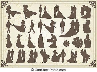新娘和新郎, 在, 婚禮, 黑色半面畫像, 插圖, 彙整