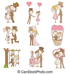 新娘和新郎, -, 婚禮, 心不在焉地亂寫亂畫, 集合, -, 設計元素, 為, 剪貼簿, 邀請, 在, 矢量