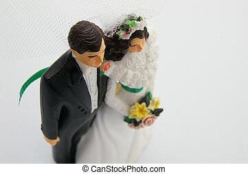 新娘和新郎, 數字, 上, a, 白色的婚禮, 蛋糕