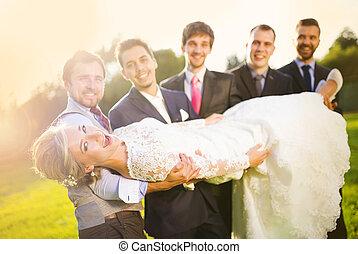 新娘, 他的, 朋友, 藏品, 新郎