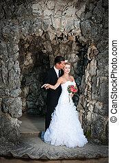 新娘, 古老, 樓梯, 新郎