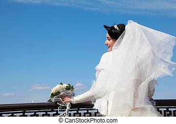 新娘, 带, 花束, 在, 栏杆